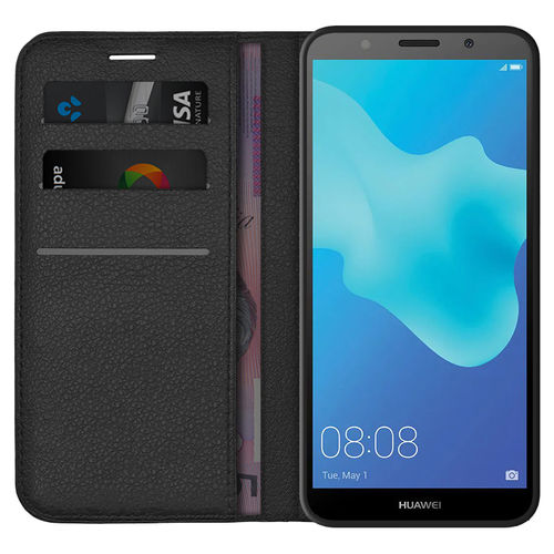Leather Wallet Case & Card Holder Pouch for Huawei Y5 (2018) - Black